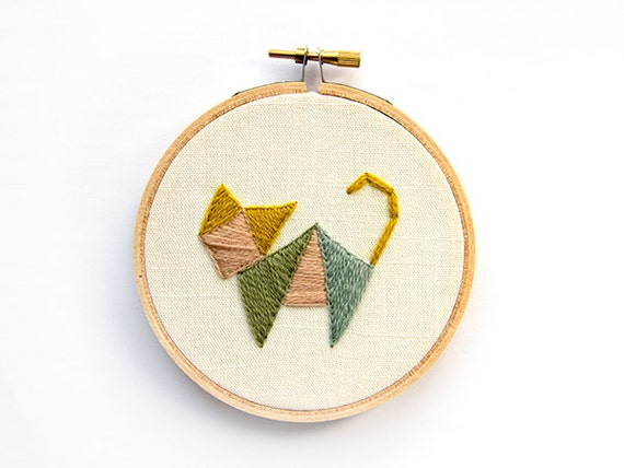 Geometric Cat Embroidery - 4 Inch Hoop Art - Abstract Crewel Hand Embroidered - Quirky Animal - Triangles Tribal - Tangram