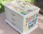 Upcycled Large Jewelry Box- Vintage Letters, Queen Elizabeth, Cream-Vintage