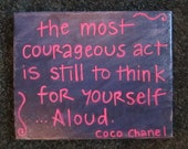 Hand-painted Quote Canvas - Coco Chanel