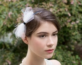 Navy Blue Ombre Headband Wrapped in Raw Silk with White Tulle Bow and Touch of Bridcage veil