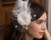 Ivory Ostrich Feather Birdcage Veil Fascinator Headpiece with Freshwater Pearls and Crystals