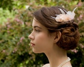 Blush Peach and Ivory Delicate Bridal Goose and Ostrich Feather Comb Fascinator