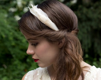 Elegant Ivory Cream Goose Feather Wedding Headband Fascinator