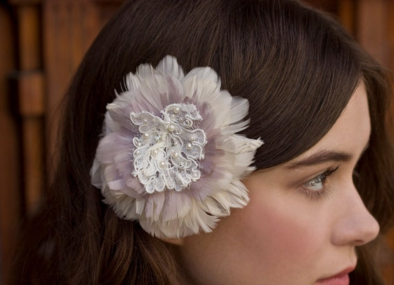 Ivory and Lavender Purple Feather Fascinator with Vintage Alencon Lace Center and Freshwater Pearls