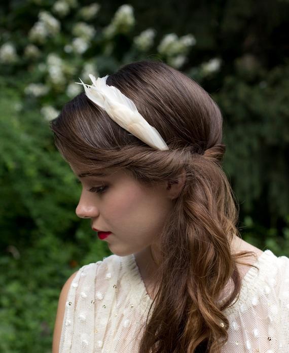 Elegant Ivory Cream Goose Feather Wedding Headband Fascinator