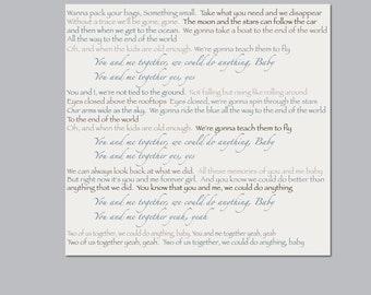 Large 30x30 Custom Canvas, Wedding Song, Wedding Lyrics, First Song, Wedding Vows,