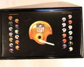 VINTAGE NFL TRAY featuring team helmets by division (1971)