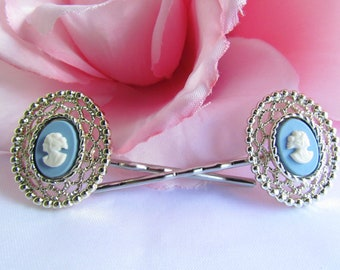 Light Blue Vintage Cameo Hair Pins Vintage Blue Cameo Bobby Pins Victorian Hair Accessories Light Blue Bridal Hair Pin Victorian Accessories