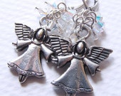 Pewter Angel Earrings with Swarovski Crystal AB Clusters on Leverbacks. Aurore Boreale. Iridescent. Wings. Celestial. Halo.
