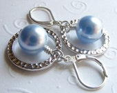Light Blue Swarovski Pearls and Rhodium-Plated Hammered Rings on Sterling Silver Leverbacks. Textured.