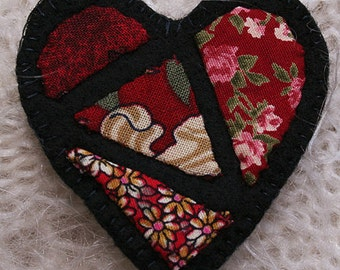 Red Appliqued Heart - 'Stained Glass' design on black felt