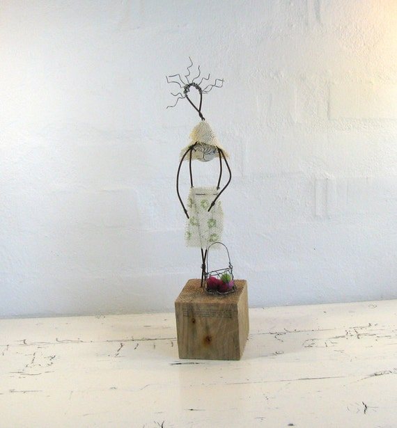 ON SALE Rustic Wire Sculpture Mixed Media Driftwood Art Goddess of Earth