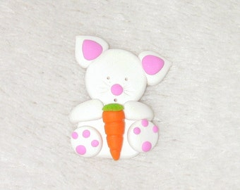 Rabbit with carrot  - card making embellishments.  Polymer clay