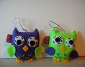Owl Felt Party Favor Ornament SET OF 2 Softie Plush Gift Decor