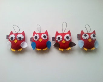 Baby Felt Owl Plushie Ornament SET of 4 Made to Order Gift Softie Party Favor