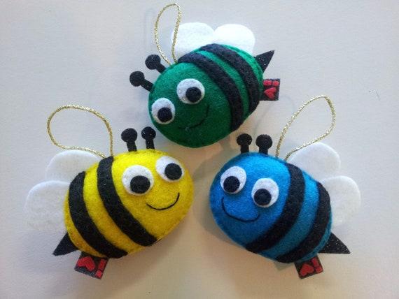 Bumblebee Eco Felt Baby Shower Party Favor Ornament SET OF 3 Softie Nursery Decor Gift
