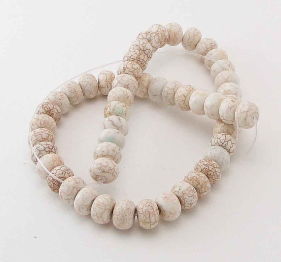 Strand of Rondelle Howlite Beads, Off White Marbled, 12mm by 8mm, 52 pcs