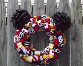 Minnie or Mickey Wreath Ribbon Wreath Party Decor