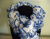 Blue and White Ruffle Scarf - White with Blue Trim - Handknit - 6 Feet Long