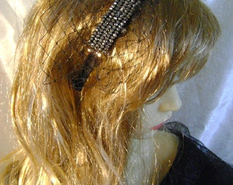 Black Beaded Fascinator
