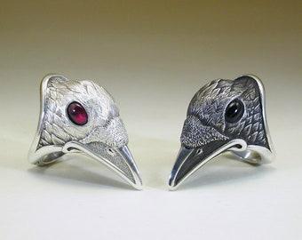 Black & White Pair of Raven Rings