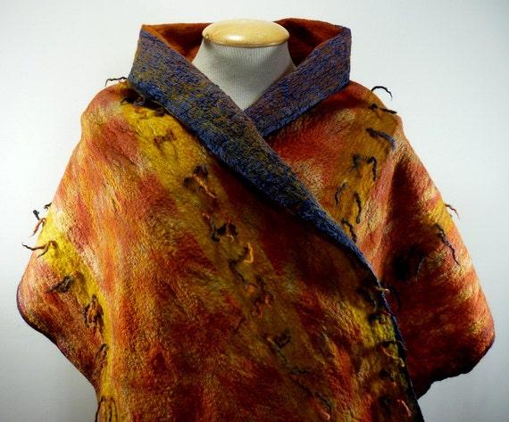 Hand made to order: Nuno felt reversible art to wear shawl / wrap 'Yellow Tuft'