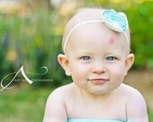 Aqua and ivory Baby Flower Headband/ Photo Prop/ Handmade Headband for babies and children