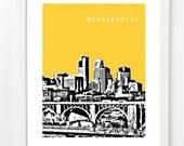 Minneapolis Poster -  City Skyline Art Print - VERSION 2