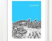 Sydney Poster - Sydney Australia City Skyline Art Print - Waterfront View - VERSION 1