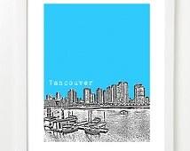 Vancouver Skyline Poster - City Art Print British Columbia Canada - Granville Island View - VERSION 1
