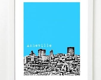 Asheville Skyline Poster - Asheville North Carolina Art - Asheville Wedding Gifts - VERSION 1
