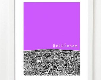 Bethlehem Pennsylvania City Art Poster  - Bethlehem City Skyline Art Print - Bethlehem PA