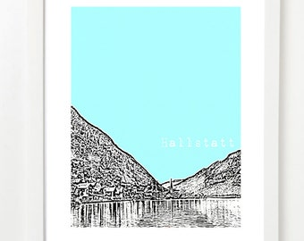 Hallstatt, Austria Skyline Poster - Hallstatt City Skyline Series Art Print - Austria Travel Art