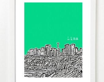 Lima Peru - City Skyline Series Poster - Lima Print - South America - Miraflores