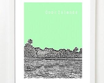 Cook Islands Poster  - Rarotonga City Skyline Art Print - Te Manga