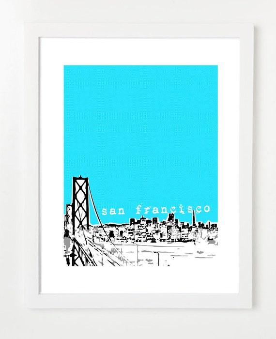 San Francisco Skyline Poster Bridge View - San Francisco California City Skyline Art Print - VERSION 1