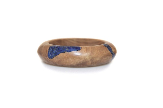 Reserved for M. Wood Bracelet - Lapis and Olivewood Bracelet, Splash of Blue