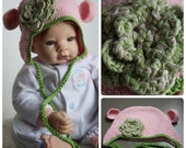 Pink and Green Cotton Crochet Baby Hat Photography Prop