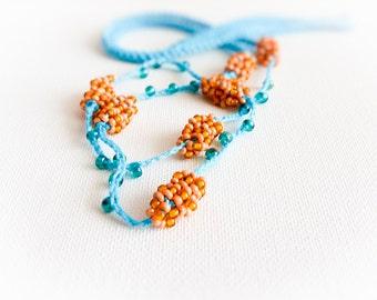 Beach wedding  crochet hairband,  turquoise coral orange skinny headband.