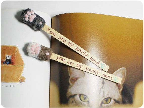 Cat Paw Bookmarks- needle felted wool, bamboo slice