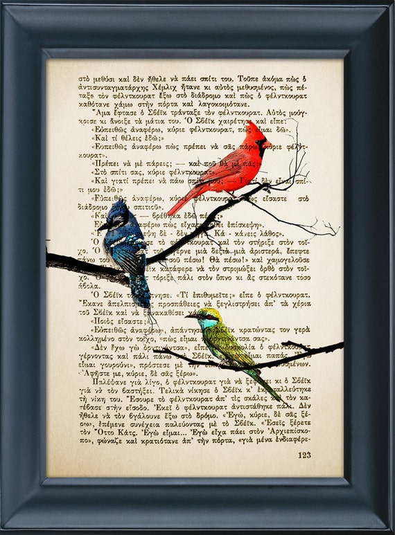 Bird Print - Vintage Book Print - Birds on Branches - Nature Tree print - Book Page Print - Wall Office Decoration - 8.0x5.5in (A5)