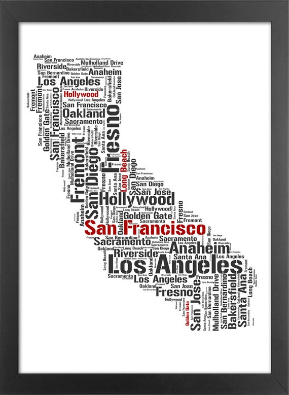 california state typography print major cities by ultrasonicboom