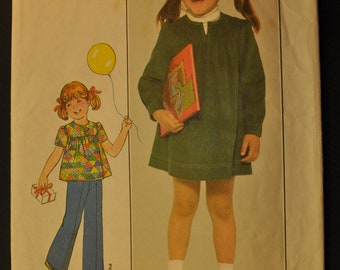 Child's Dress or Top and Pants Size 3 Vintage 1970s Sewing Pattern-Simplicity 8178