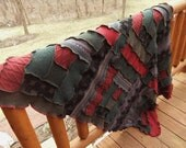 Afghan blanket throw deep red forest green, patchwork, log cabin, rustic