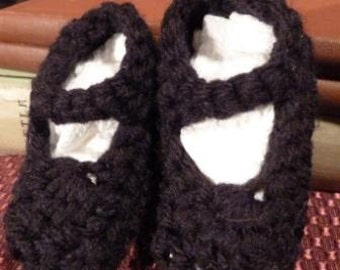 Black Mary Jane Baby Booties