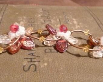 Gold, Red and White Beaded Flower Bracelet
