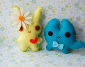 Yellow bunny and little kitten cute felt plush stuffed toys dolls lovely kawaii Christmas gift