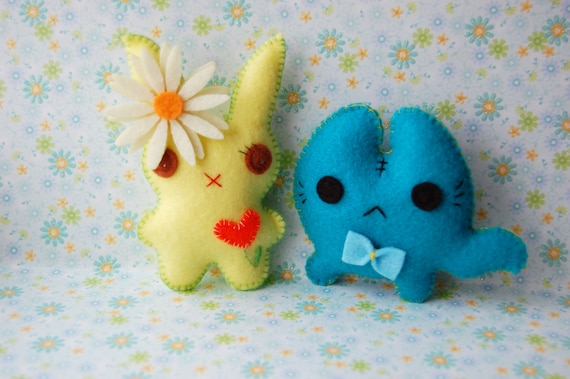 Yellow bunny and little kitten cute felt plush stuffed toys dolls lovely kawaii Christmas gift