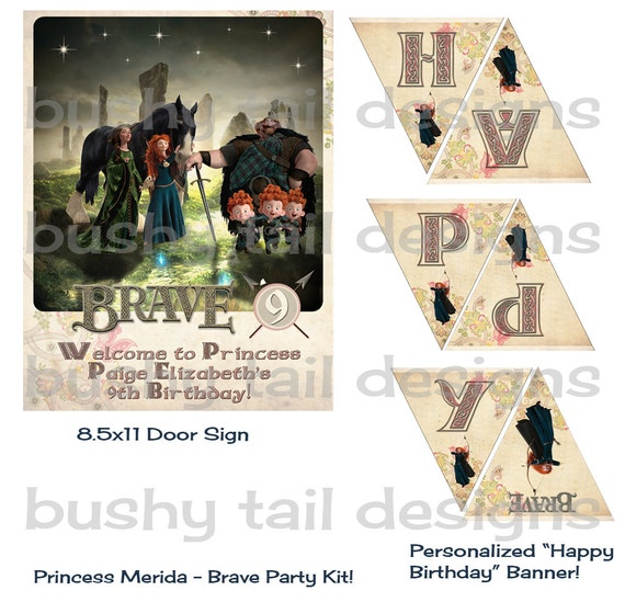 Brave Princess Merida Party  Kit - Party Door Sign, Happy Birthday Banner, Cupcake Toppers, Bottle Caps, etc Personalized