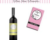 Customizable Chevron Wine Bottle Label with Table Numbers for Wedding Reception, Party, Table Decor